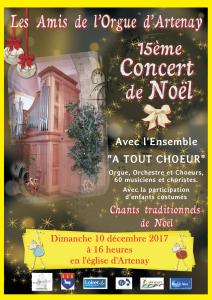 Concert de Noël à Artenay (Loiret) – Dimanche 10 Décembre 2017